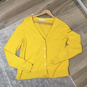 YELLOW BUTTON-UP SWEATER